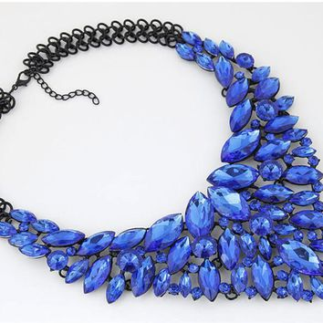 Women's Crystal Beaded Bib Statement Necklace.    Available in Blue and Red.   Really Stunning and Unique.   ***FREE SHIPPING***