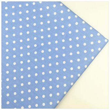 Syunss,Blue Back White Dot Cotton Fabric DIY Tissu Patchwork Telas Sewing Baby Toy Bedding Home Textile Quilt Cloth Craft Tecido