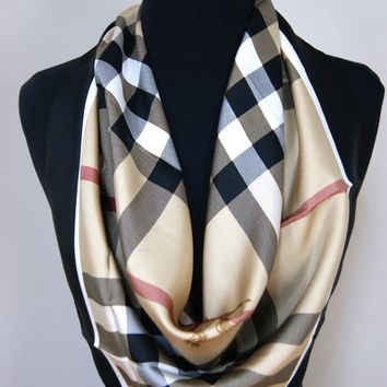 New Authentic Black Border Burberry Beige Check Twill Silk Scarf