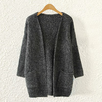 Women Loose Comfortable Soft Black Cardigan Sweater with Pockets