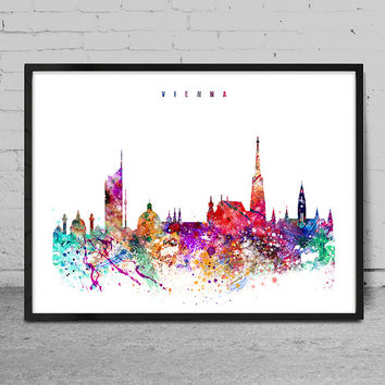 Vienna Watercolor Print, austria watercolor Art, Wall art,Vienna Skyline, Cities Art, Wall Art, typography art, Vienna Decor-x10