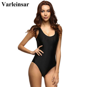 Hot black Swimsuit women high cut one piece swimwear women backless monokini bodysuit bather bathing suit maillot de bain V128