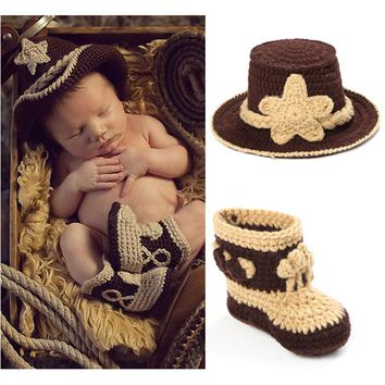 Handmade Crochet Baby Cowboy Hat and Booties Set Photo Props