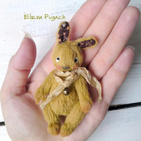 Artist miniature teddy bunny 2.95 inches Miniature teddy rabbit OOAK teddy bunny Gift for Mother's day Stuffed bunny animal Mini bunny