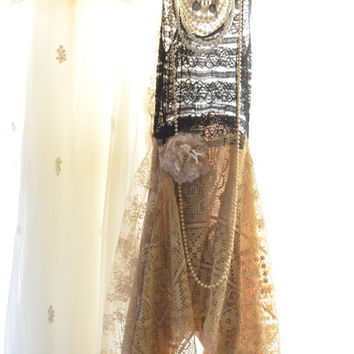 Stevie Nicks Style Gypsy tunic dress, Bohemian clothing, Boho dresses, Hippie chic crochet lace dress, Romantic shabby, True rebel clothing