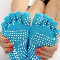 5pairs/lot Message Silicone New Women's 5 Toe Socks Fashion Lady Womens Girls Five Fingers Trainer Toe Cotton Socks