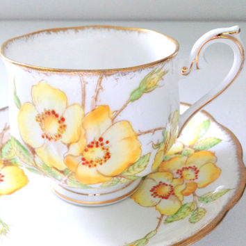 Vintage English Royal Albert Fine Bone China Wild Rose Pattern Tea Cup & Saucer Tea Party - Ca. 1940's