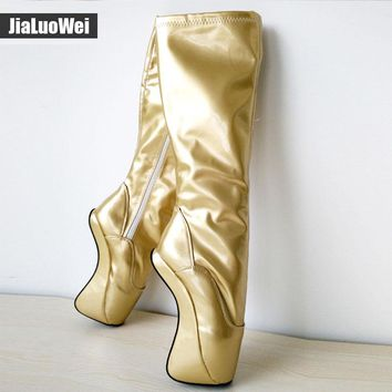 "jialuowei 18cm/7"" High Heel Hoof Sole Heelless Fetish Ballet Wedge Knee-High Boots Custom color Plus size"