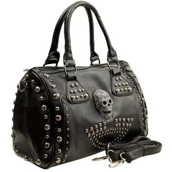 Women's Black Leather Studded Biker Shoulder Bag Tote