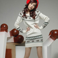 New Arrival 2017 christmas sweater Knitted Sweater Dress Jumper Tops Fall Deer Printe Women's Long Sleeves Pullovers christmas