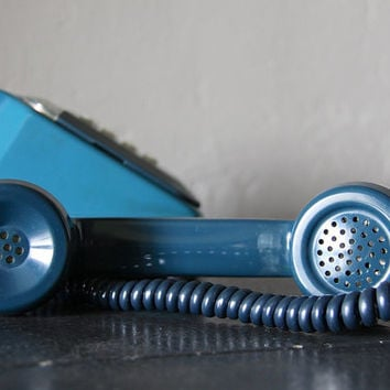 Vintage French Telephone 10 buttons Touch Tone Petrol Blue Color with a Mother-in Law listener