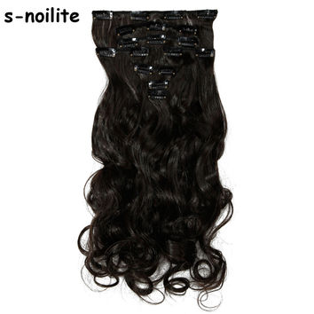 18-24 inches 100% Natural Remy Clip in Hair Extensions 8 Pieces Full Head Long Hair Extension Real Synthetic Curly for human