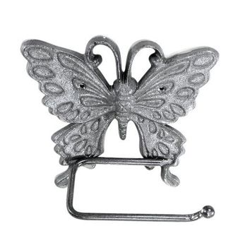 Butterfly Toilet Paper Holder Cast Iron, Natural Finish for Bathrooms