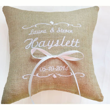 Personalised Linen Wedding ring pillow , ring pillow, ring bearer pillow with Custom embroidery, Ring Pillow , wedding pillow(R101)