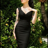 Erin Wiggle Dress in Black Stretch Bengaline from Pinup Couture - Clothing | Pinup Girl Clothing