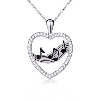 925 Sterling Silver Treble Clef Bass Heart Musical Note Pendant Necklace,18 inches