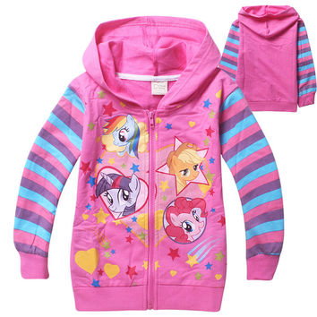 spring winter my pony Kids little slim Girls sweaters striped coats baby jackets Children printed hoodies long sleeved clothes