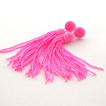 SALE Beaded tassel earrings - stud earrings in hot pink- statement seed beads earstud- long dangle clip on- bridesmaid earrings- beadwork