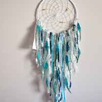 Teal Nursery  Dream Catcher, Large  Lace Dream Catcher Nursery Wall Decor, Wall Hanging  Tapestry,  Teal Blue Nursery Decor