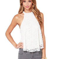 White Lace Tank Top With Halter Neck