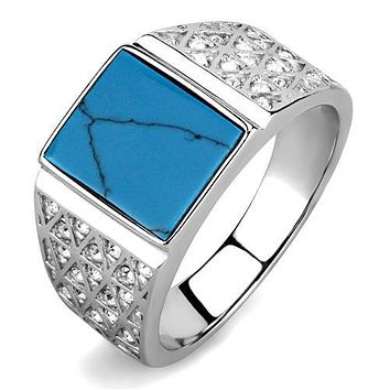 Men's 2.75 CT Blue Turquoise  Silver Stainless Steel AAA Quality CZ Ring Sizes 8-12 Free Shipping
