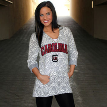 South Carolina Gamecocks Official NCAA DAMASK LASER CUT TUNIC HOODIE