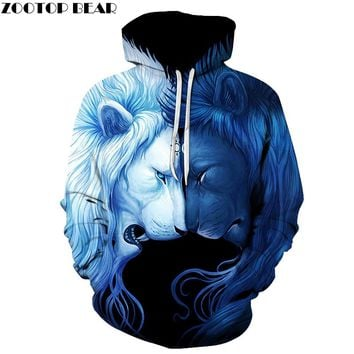 Day Night Lion 3D Sweatshrits Men Women Printed Hoodies Hot Sale Quality Fashion Novelty Pullover Casual Tracksuit 6xl Plus Coat