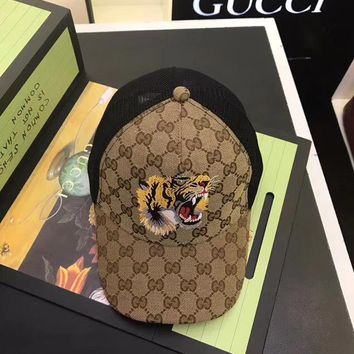GUCCI Tigers Embroidery GG Supreme baseball hat