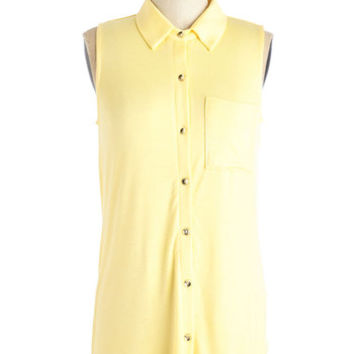 Pastel Mid-length Sleeveless Endless Opportunities Top in Buttercup