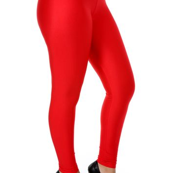 Elastic High Waist Leggings - Red
