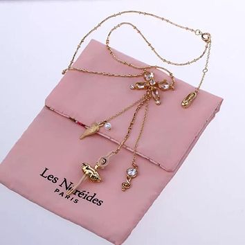 "(only 17 Left)France: Paris ""Les Nereides"" Ballerina, Bowknot, Tutu & Rose Enamel Glaze Jewelry Set: Earrings Necklace"