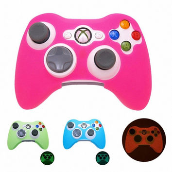 PINK GLOW in DARK Xbox 360 Game Controller Silicone Case Skin Protector Cover...