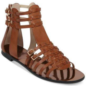 VINCE CAMUTO JATELLA FLAT SANDALS FUDGE 8M