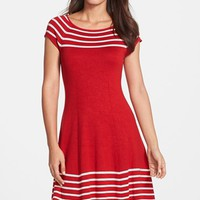Women's Eliza J Stripe Knit Flared Dress