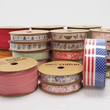 Printed Cotton Linen Ribbon, 5/8-inch, 10-yard