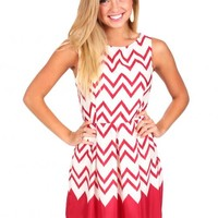 Just From Chevron Burgundy And White Dress | Monday Dress Boutique