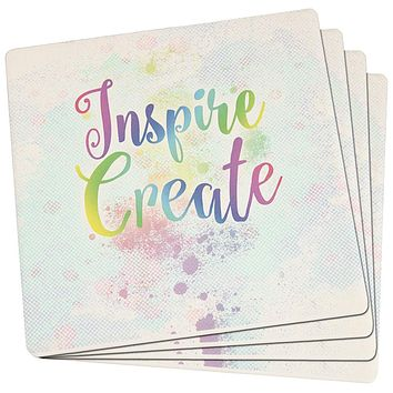 Inspire and Create Pastel Half Tone Art Set of 4 Square Sandstone Art Coasters
