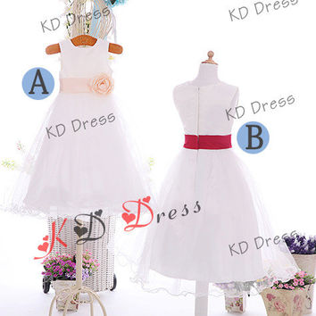 20% OFF Cute Ivory Wavy Tulle Skirt Satin Flower Girl Dress Children Birthday Party Dress Kids Dress with Sash/Flower(Z1032)