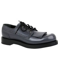 Gucci Fringed Brogue Bluish Gray Leather Lace-Up Shoes 358271 1107
