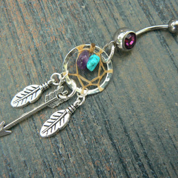 arrow dreamcatcher belly ring turquoise and amethyst feathers in native american tribal boho belly dancer tribal fusion and hipster style