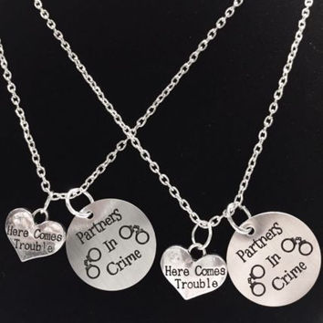 Partners In Crime Here Comes Trouble Best Friend Sisters Necklace Set