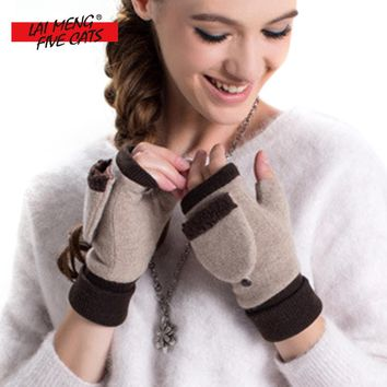 LMFC Winter Women Glove Female Fashion Mitten Wool Plus Cashmere Velvet Thickening Warm Fingerless Gloves Guantes Eldiven