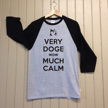 Keep Calm and Doge On - Raglan T Shirt - Black, Grey and White - Unisex - Christmas Tee - 568