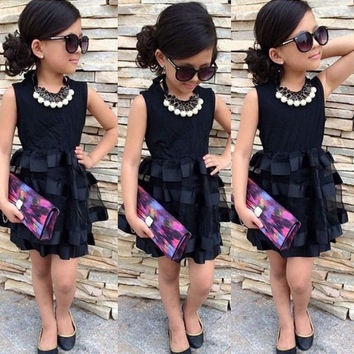 Populous Baby Kids Girls Clothes Princess Black Short Fashion Summer Cool Solid PartyTulle Dresses 2 3 4 5 6 7 Years