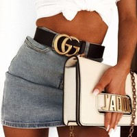 GUCCI Woman Men Fashion Smooth Buckle Leather Belt-4