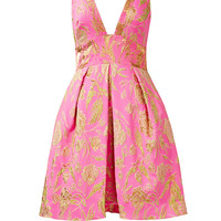 Marchesa Notte Pink Metallic Floral Dress