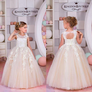 Lace Champagne Flower Girl Dresses for Weddings Tulle Ball Gowns Baby Girl Communion Dresses Children Girl Pageant Gowns F303