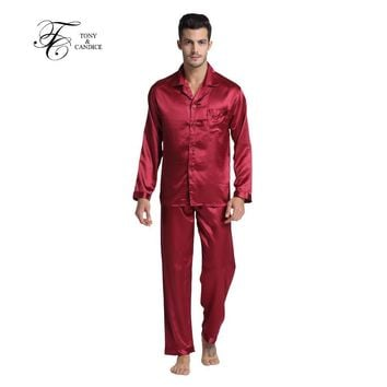 Tony&Candice Hot Sale Couple Silk Pajamas Set Men Stain Nightgown Lovers Sleepwear Slim Loungewear For Ladies Classic Style
