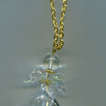 glass angel necklace charm gold chain handmade bead jewelry clear #jewls5001