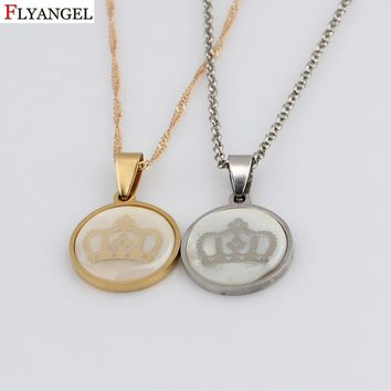 Cool Time Gems Crown Pendant Stainless Steel Necklace King & Queen Crown Choker Necklace Jewelry for Women Men BijouxAT_93_12